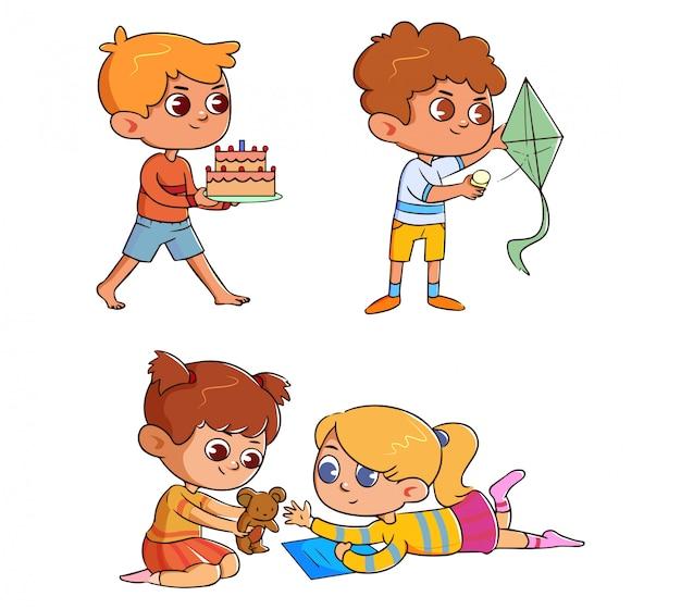 Conjunto de divertidos niños lindos con actividad y pasatiempo