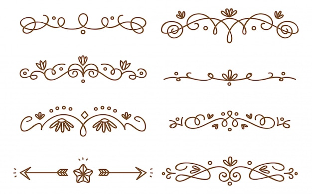 Conjunto de divisiones decorativas swirly