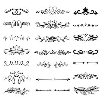 Conjunto divisor ornamental dibujado a mano