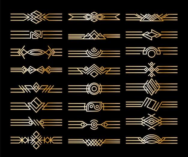 Conjunto de divisores de fronteras. viñetas doradas decorativas. elementos de diseño caligráfico y decoración de página.