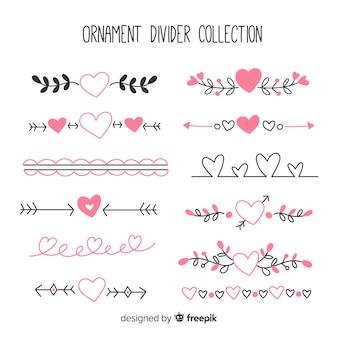 Conjunto de divisores ornamentales dibujados a mano con corazones