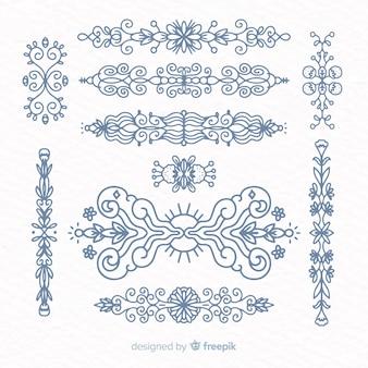 Conjunto de divisores ornamentales dibujados a mano
