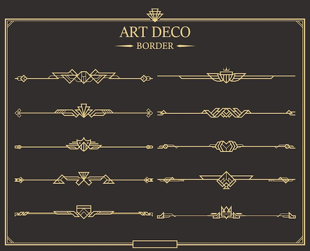 Conjunto de divisores de página caligráficos de oro art decó.