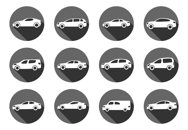 Conjunto de doce coches de estilo plano en círculos con sombra. ilustración vectorial