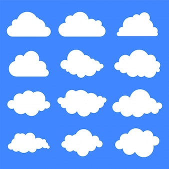 Conjunto de doce diferentes nubes sobre fondo azul.