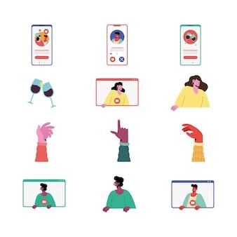 Conjunto de doce iconos de aplicación de amor en línea, diseño de ilustraciones