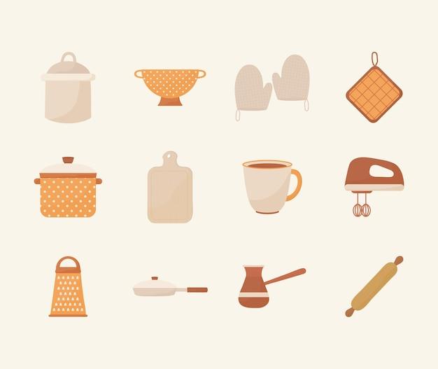 Conjunto de doce iconos de cocina