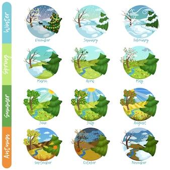 Conjunto de doce meses del año, cuatro estaciones, naturaleza, paisaje, invierno, primavera, verano, otoño, ilustraciones