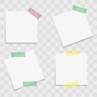 Conjunto de documentos de notas con cintas adhesivas