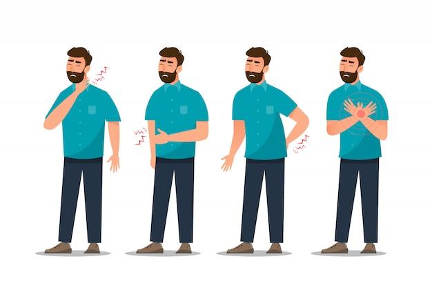 Conjunto de dolor de estómago del hombre enfermo, enfermedad cardíaca, dolor de espalda, dolor de cuello, tos y gastritis