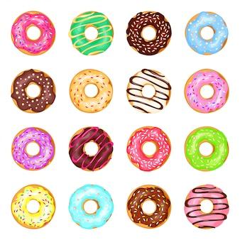 Conjunto de donas coloridas dulces