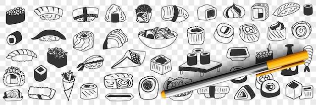 Conjunto de doodle de alimentos tradicionales japoneses