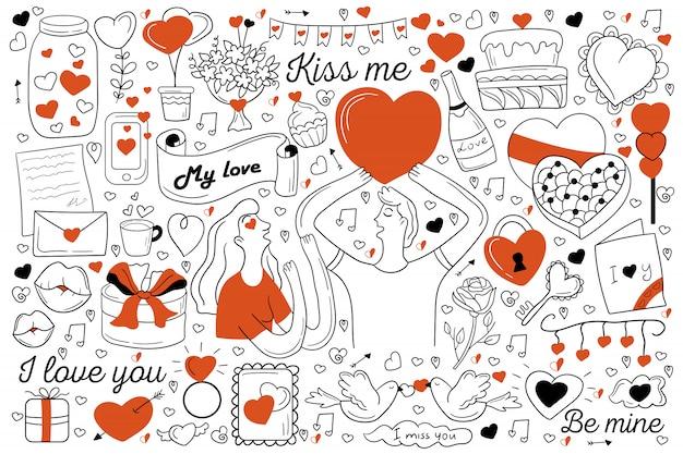 Conjunto de doodle de amor