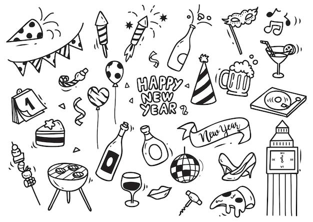 Conjunto de doodle de año nuevo aislado sobre fondo blanco