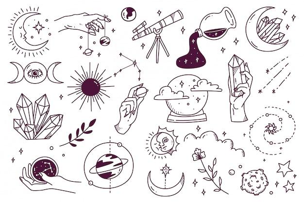 Conjunto de doodle de astronomía mística