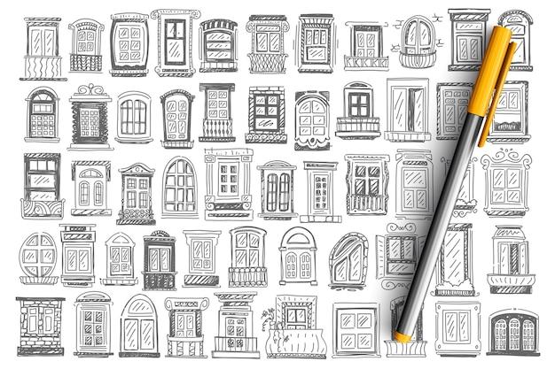 Conjunto de doodle de balcón.