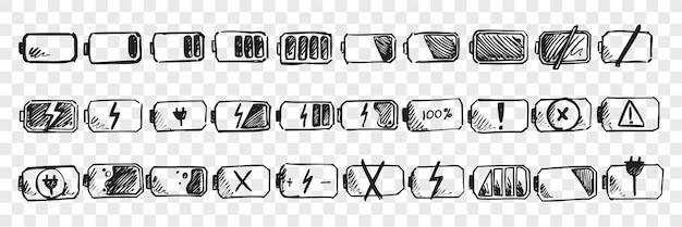 Conjunto de doodle de batería móvil dibujado a mano