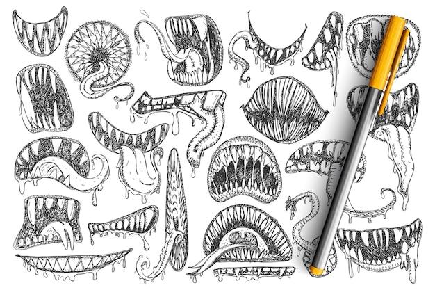 Conjunto de doodle de boca y dientes espeluznantes. colección de boca aterradora dibujada a mano, dientes, lengua como serpiente o como tatuajes aislados
