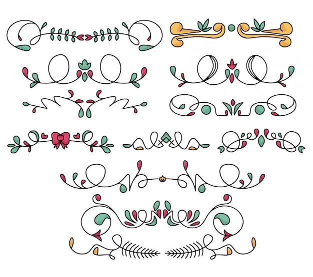 Conjunto de doodle de borde y remolinos