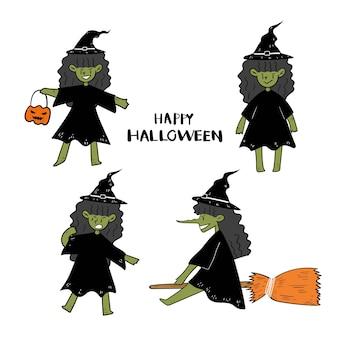 Conjunto de doodle de bruja de halloween dibujado a mano.
