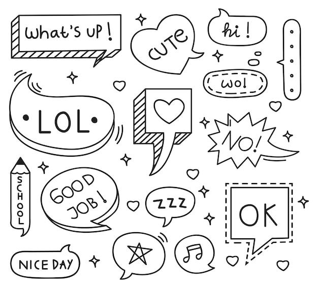 Conjunto de doodle de burbuja discurso lindo