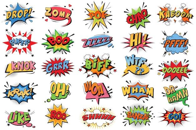 Conjunto de doodle de burbujas de cómic.