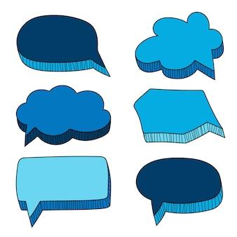 Conjunto de doodle de burbujas de discurso de vector. estilo dibujado a mano. ilustración vectorial - en blanco