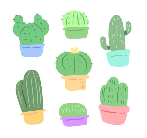 Conjunto de doodle de cactus