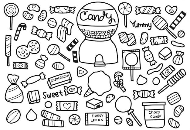 Conjunto de doodle de caramelo dulce