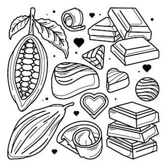 Conjunto de doodle de chocolate y cacao