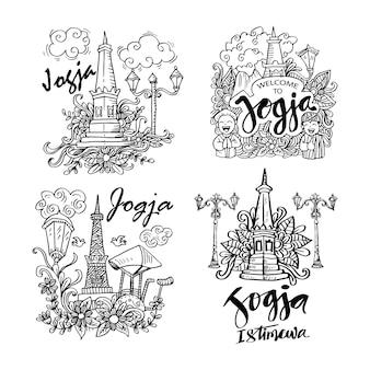 Conjunto doodle de la ciudad de yogyakarta indonesia
