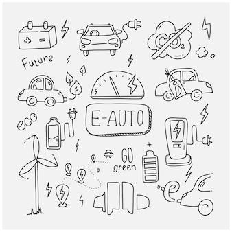 Conjunto de doodle de coche e. energía verde. reducción de co2.