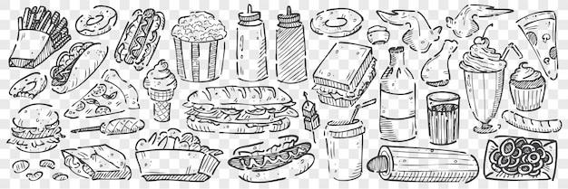 Conjunto de doodle de comida chatarra dibujado a mano