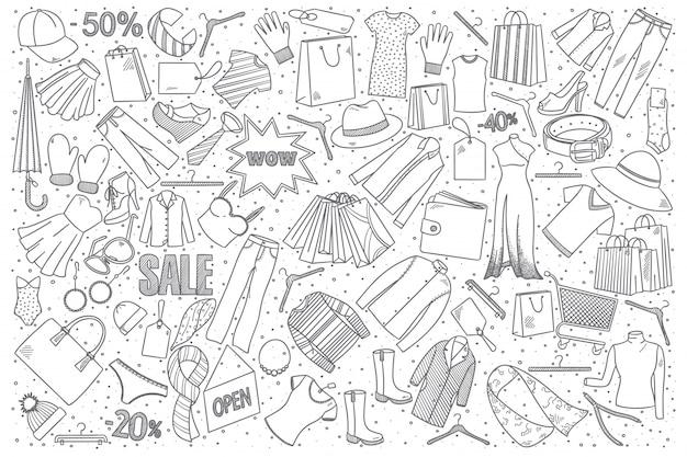 Conjunto de doodle de compras