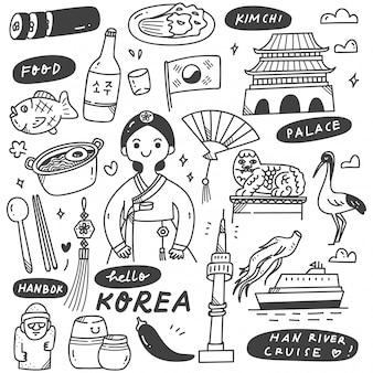 Conjunto de doodle de corea dibujado a mano