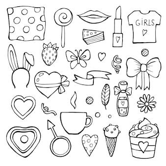 Conjunto de doodle descolorido de soltera