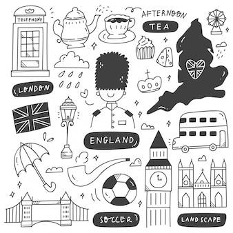 Conjunto de doodle de destino de viaje de inglaterra