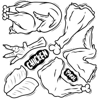 Conjunto doodle dibujado mano carne pollo