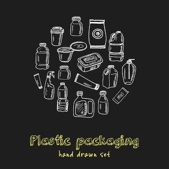 Conjunto de doodle dibujado a mano de envases de plástico