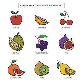 Conjunto de doodle dibujado a mano de frutas con color plano