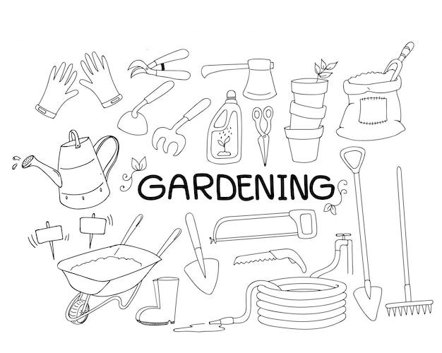 Conjunto de doodle de dibujado a mano de herramientas de jardinería