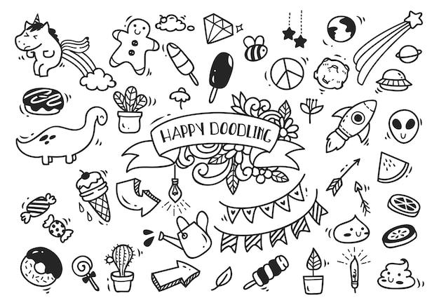 Conjunto de doodle dibujado a mano lindo