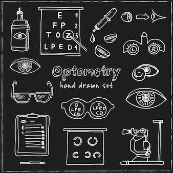 Conjunto de doodle dibujado a mano de optometría