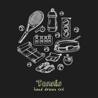 Conjunto de doodle dibujado a mano de tenis