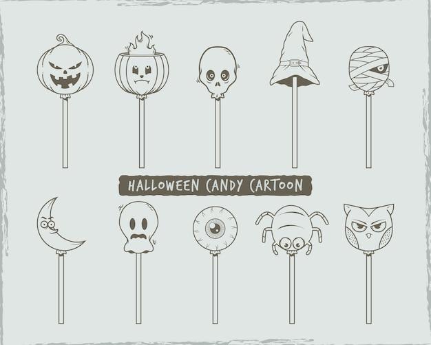 Conjunto de doodle dibujos animados de dulces de halloween