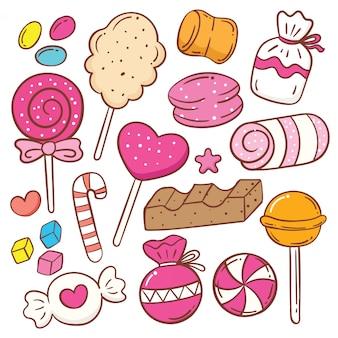 Conjunto de doodle de dibujos animados de dulces lindos