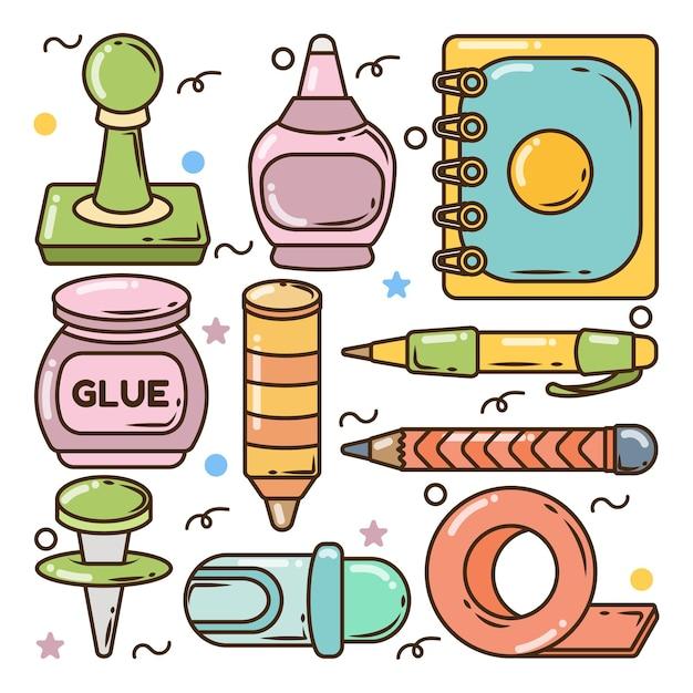 Conjunto de doodle de dibujos animados de elementos escolares dibujados a mano