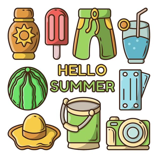 Conjunto de doodle de dibujos animados de herramientas de verano dibujado a mano con banner de saludo