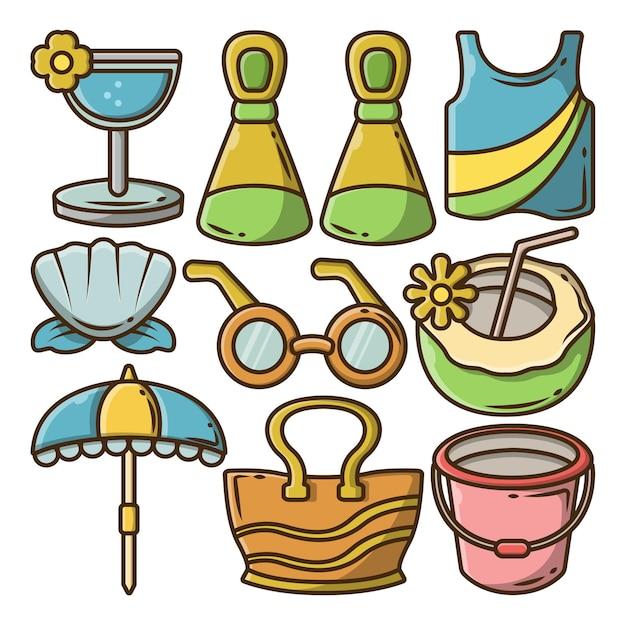 Conjunto de doodle de dibujos animados de paquete de verano dibujado a mano