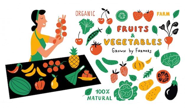 Conjunto de doodle divertido de frutas y verduras. mujer linda de la historieta, vendedor del mercado de alimentos con productos agrícolas. dibujado a mano